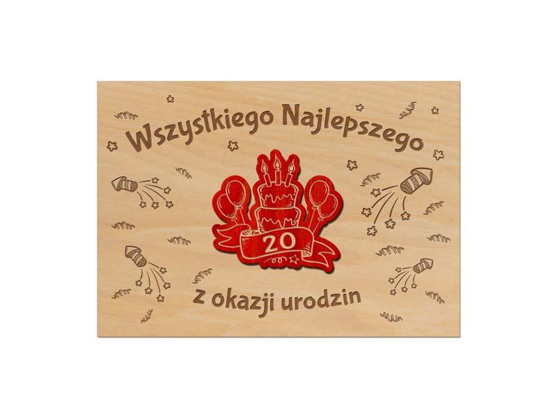 Urodzinowe kartki drewniane