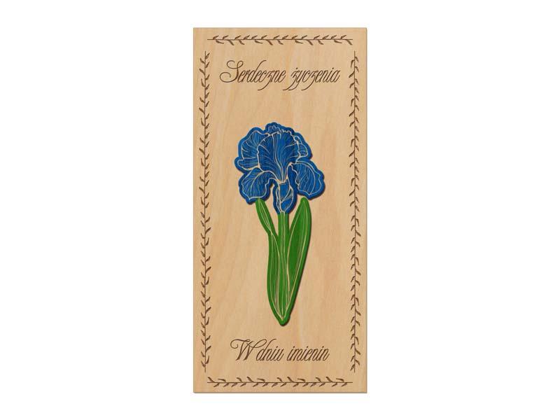 Kartki imieninowe z drewna Irys