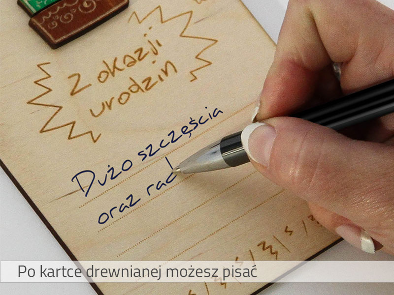 Po drewnianej kartce pocztowej możesz pisać