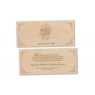 Zaproszenie na ślub drewniane