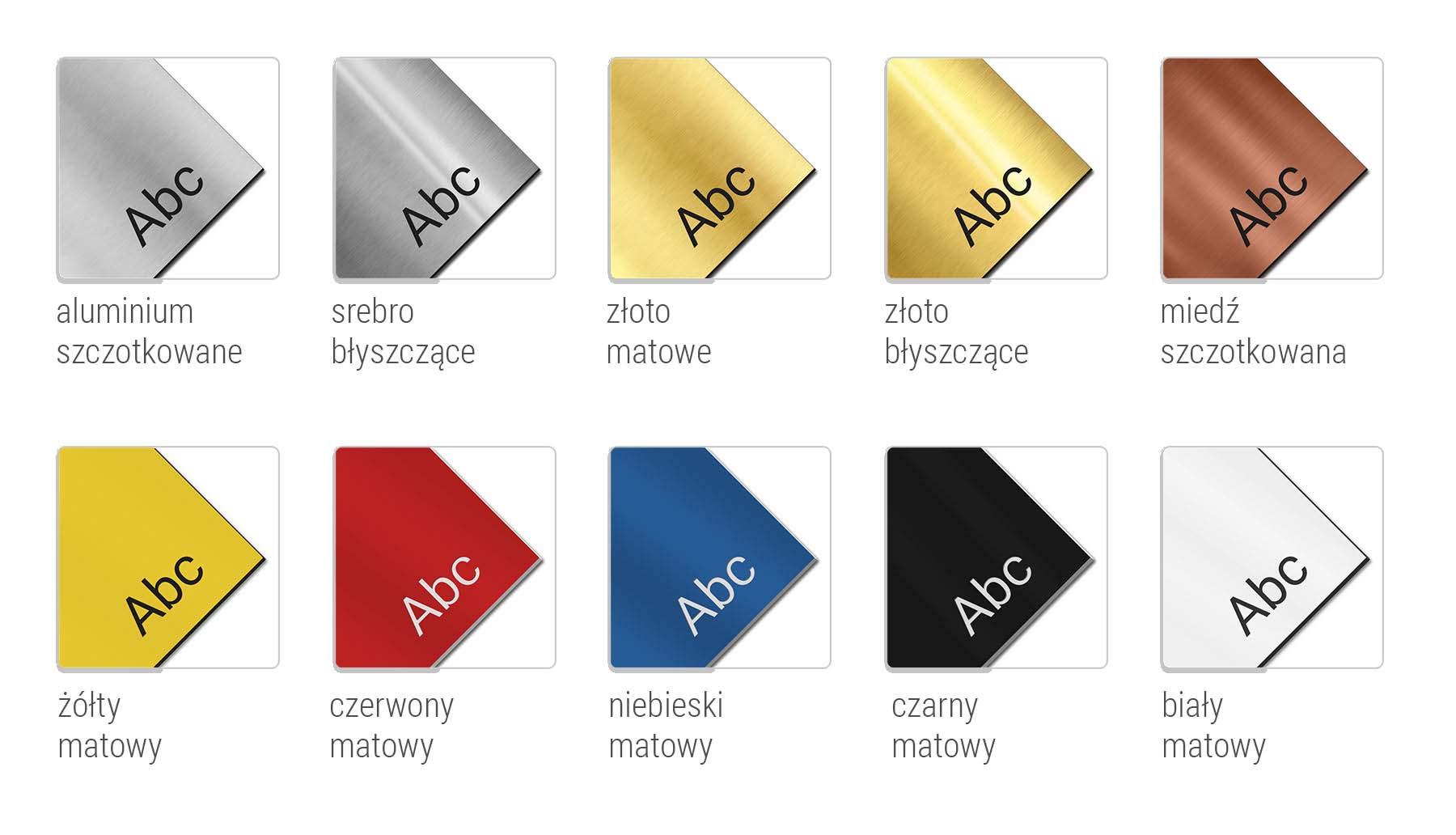 kolory laminatów tabliczki informacyjne