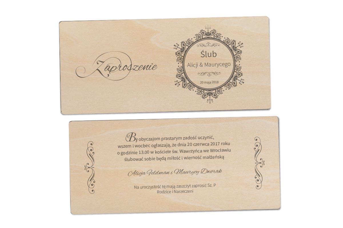 Zaproszenie na ślub drewniane zapdl07