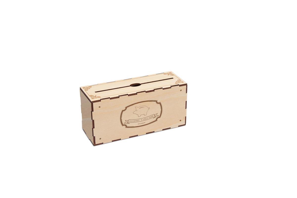 Skarbonka drewniana grawerowana